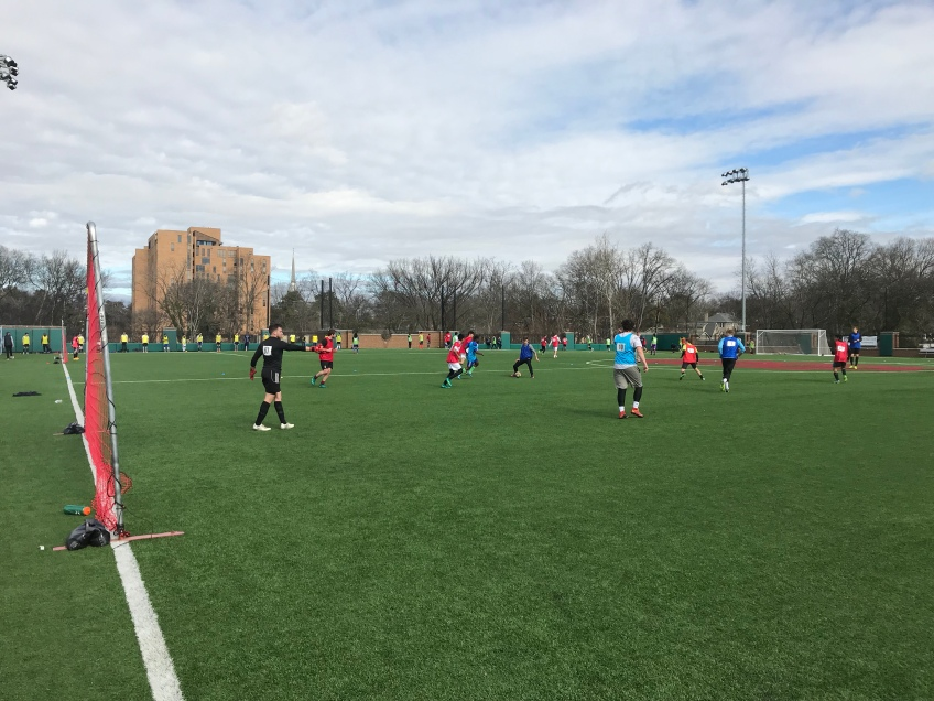 Players display their skills in front of Nashville SC's coaches and technical staff during an open tryout.