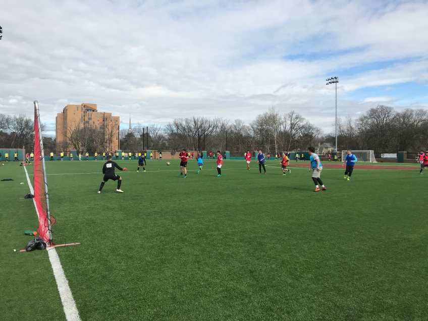 Players compete in an open tryout for Nashville SC.