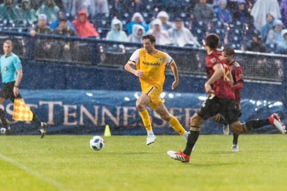 Tucker Hume goes on the attack in the second half against Atlanta United FC at First Tennessee Park in Nashville.
