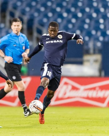 Lebo Moloto plays against Pittsburgh Riverhounds at Nissan Stadium in Nashville.
