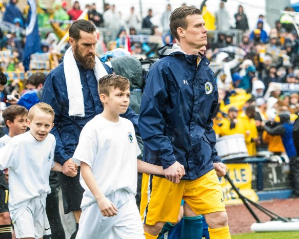 Nashville SC's Michael Reed and Matt Pickens walk on to the field at First Tennessee Park