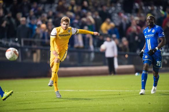 Nashville SC's Alan Winn scores a left-footed goal against Charlotte Independence at First Tennessee Park.