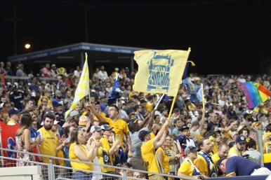 The Nashville SC supporters section cheers the Boys in Gold on. | Golden Goal